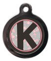 Dog ID Tag with the letter K on it