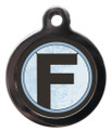 Pet Tags with the letter F on it