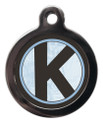 Pet Tags with the initial K on it