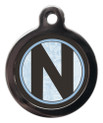 Pet Tags with the initial N on it