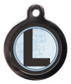 Pet Tags with the initial L on it