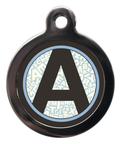 Pet ID Tags with the letter A on it