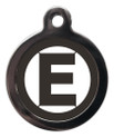 Dog ID Tags with the letter E on it