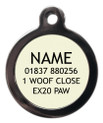Example of back of Pet ID Tag