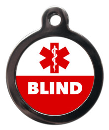 Blind Medical Alert Pet Dog Cat ID Tag