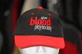 Give Blood Play Hockey Hat Black with red peak