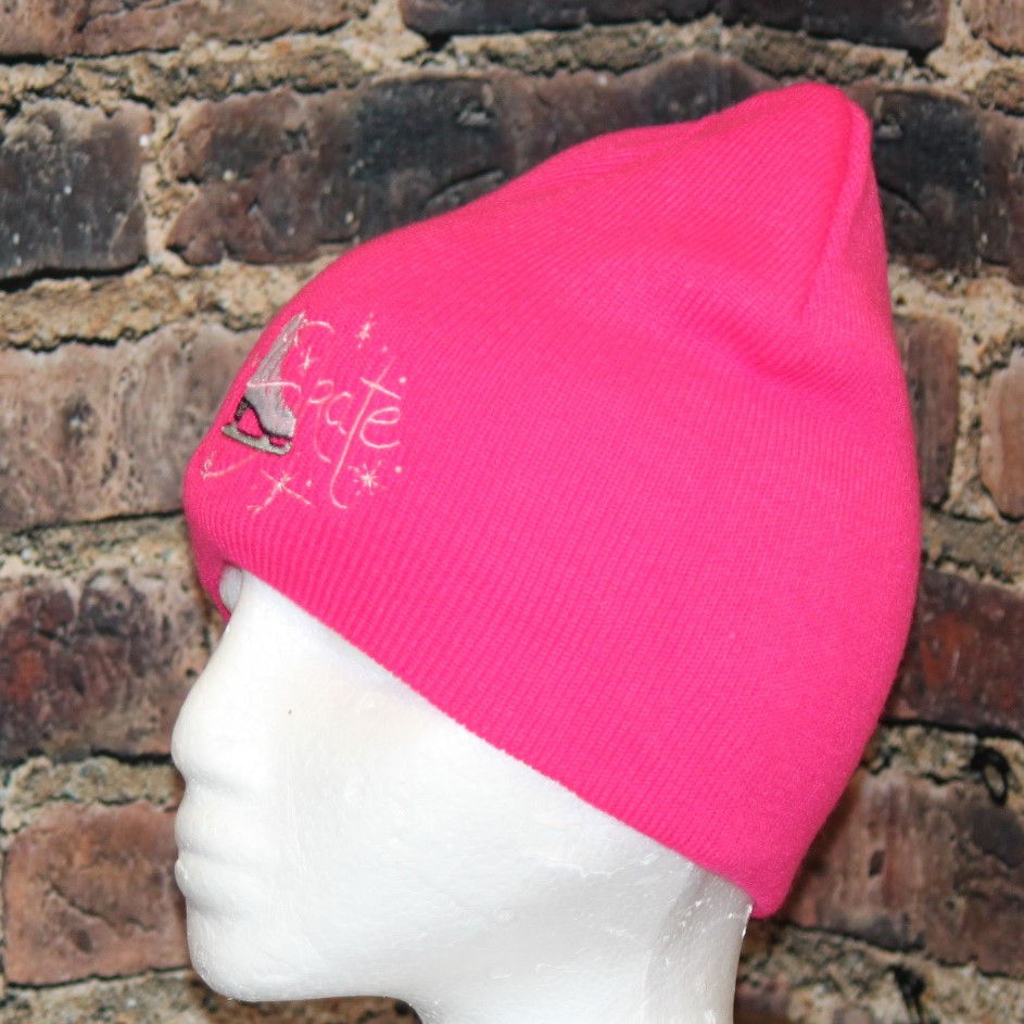 3d3f40b8838 Figure Skating Skate hot pink Beanie Toque - Hollywood Filane
