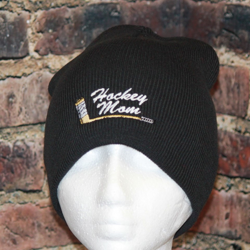 Hockey Mom with embroidered stick logo Black Beanie Toque ... f088fea1cd5b
