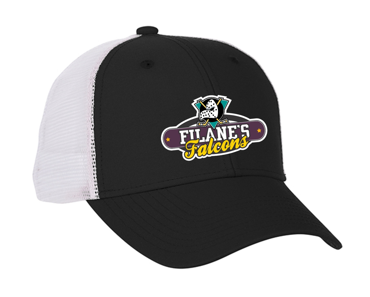 5e512cf7360 Filane s Falcons Hockey Logo - Black with white mesh snap back cap