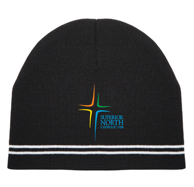 Double strip knit beanie toque with logo