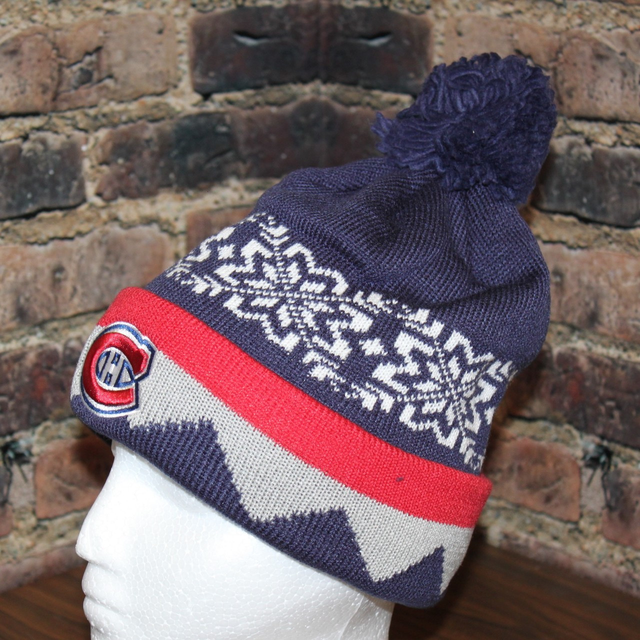 Montreal Canadiens adidas NHL Snowflake Cuffed Pom Knit Hat. Larger   More  Photos db29c57efd03