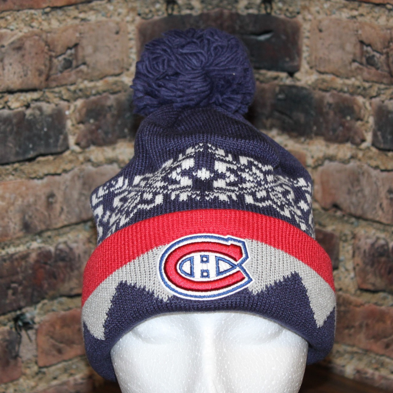 5df2aa741 Montreal Canadiens adidas NHL Snowflake Cuffed Pom Knit Hat. Larger / More  Photos