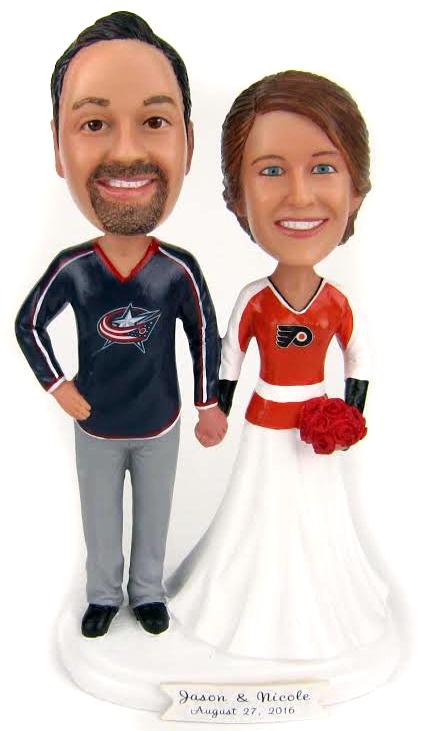 Columbus Blue Jackets and Philadelphia Flyers Custom Hockey Wedding Cake Topper