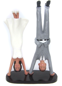 Custom Handstand Bride and Groom Wedding Cake Topper