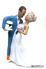 Custom Storm Trooper Groom Dipping Bride Cake Topper