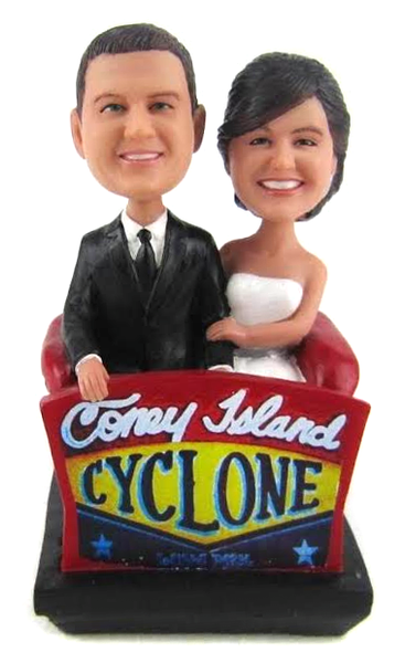 Coney Island couple wedding cake topper