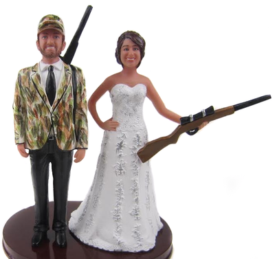 Hunting wedding couple cake topper