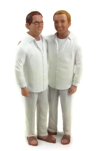 Gay Beach Grooms Wedding Cake Topper