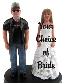 Biker style groom with Mary style bride