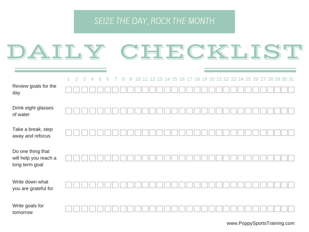 picture regarding Daily Goals Checklist referred to as Absolutely free Printable: Day by day Listing for Month to month Achievements - Poppy