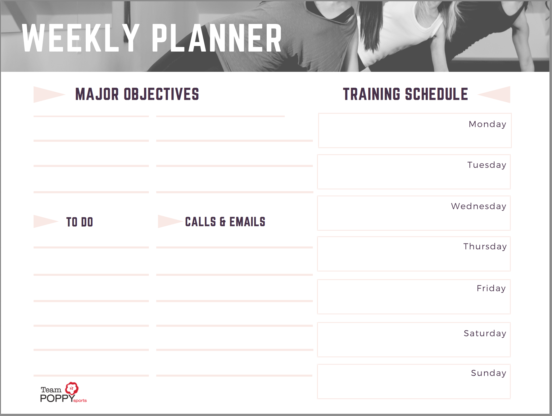 Download the Poppy Sports Weekly Planner