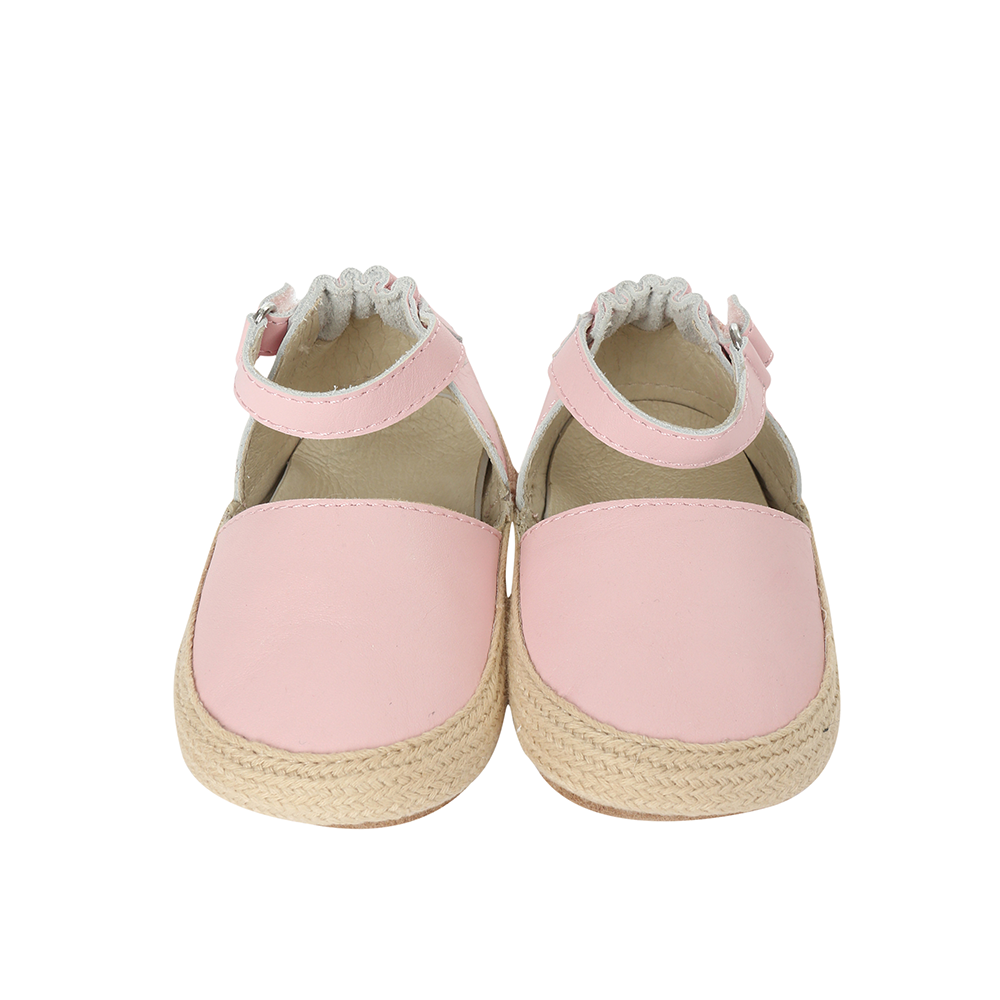 Front view of Kelly Espadrille Baby Shoe, a girl's crib shoe in pink leather with a soft sole.
