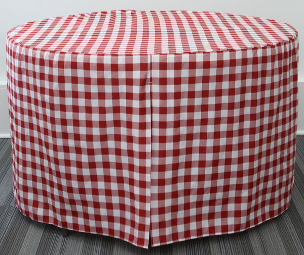 Expect the applause! This traditional pattern in 60-Inch Round adds immediate visual appeal to any type gathering. Use the pleats side-to-side or front-to-back shown here for serving or seating with no worries about fam and friends tripping over clumsy cloths. Our fitted cover edges the ground for full coverage and comes out of the wash practically dry for use again and again. Feels like your favorite cotton poplin and guaranteed to be a crowd-pleaser.