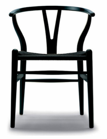Stainless Steel Black Powdercoated Replica Wishbone Chair, with Black Cord