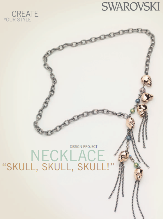 Swarovski skull bead necklace free design and instructions mozeypictures Images