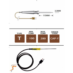 CAP-Y Type T Colour Coded Catering Needle Probe (Yellow)   Thermometer Point