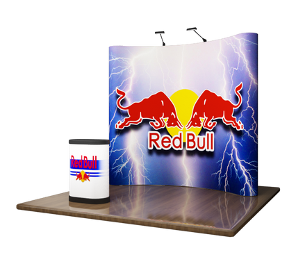 8' Curved EZ Series Pop Up Trade Show Display with Graphics (shown with LED Lights, podium and podium graphic)!