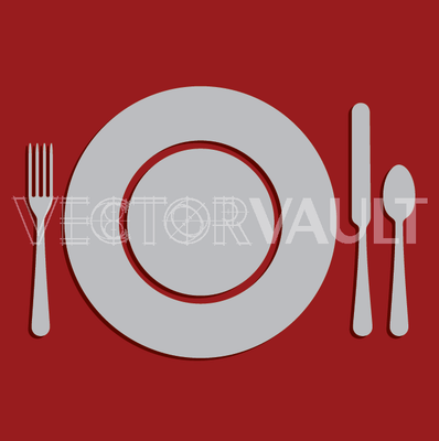 vector place setting knife fork spoon plate