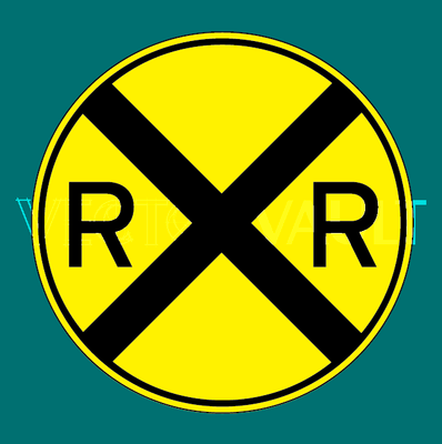 vector rail road crossing sign