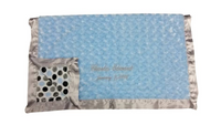 luxe blue and gray dot baby blanket