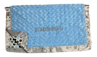 luce baby blanket in blue and gray