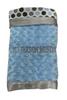 Folded blue and gray dot blanket