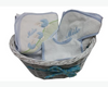 Basket of blue and white towels