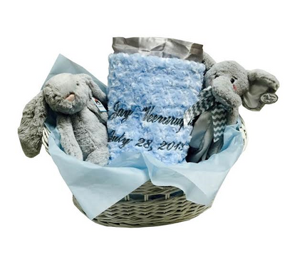 Baby Boy Gift Basket in Gray & Blue
