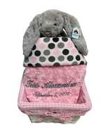 Personalized Gray and Pink Baby Gift Basket - Jellycat Bunny & Namely Newborns Baby Blanket