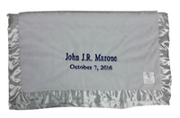 luxe gray blanket with names and birthdate