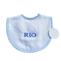 White Pique Bib with Blue Trim - Three Marthas