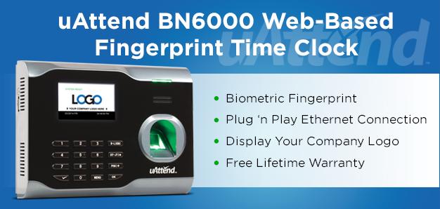 uAttend BN6000 Biometric Fingerprint Time Clock Office Supplies Time
