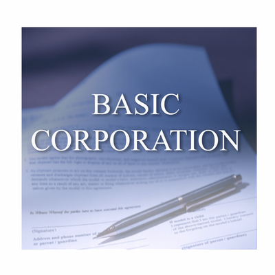 This Basic Corporation package is for those who are experienced in maintaining Corporations and require only our assistance in filing of the Articles of Incorporation and in our providing Registered Agent services for the Corporation.