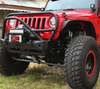 Motobilt MB1006-L Front Stubby Bumper with Stinger and Grill Hoop for Jeep Wrangler JK 2007-2017
