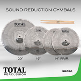 "Total Percussion - Sound Reduction Cymbals (14"" Hats, 16"" Crash, 20"" Ride)"