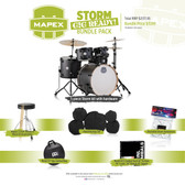 "Mapex Storm Bundle in Textured Black - 5 Piece Kit (22"", 10"", 12"", 16"" + 14"" SNR) with Hardware, Cymbals, Bags, Sticks & Gels"