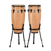 """Pearl Primero Wood Conga Set 10"""" + 11"""" with Stands - in Natural Lacquer"""