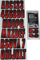 Hardline - Letter/Number Set, Red/Black - REBKG300