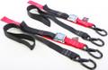 """Powertye - Tie-down Cam Sec Hook Soft-tye 1.5""""x6' Black/red Pair - 29621-S"""