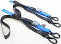 """Powertye - Tie-down Cam Sec Hook Soft-tye 1.5""""x6' Black/blue Pair - 29623-S"""